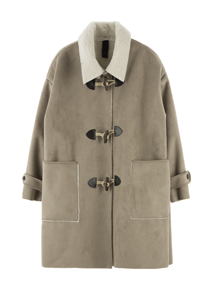 Shearling Duffle Coat With Belt