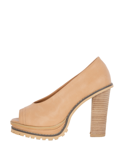 Peep Toe Wood Heel Pumps