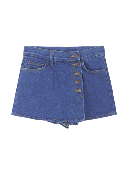 Buttoned Wrap Denim Skort