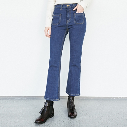 Patch Pocket Boot Cut Jeans