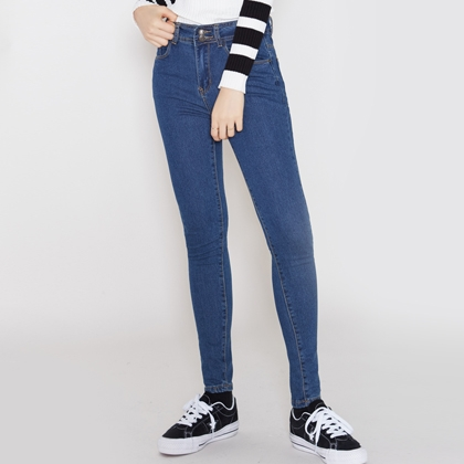 Double-Button Skinny Denim Jeans