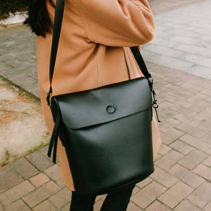 Faux Leather Flap Bucket Bag