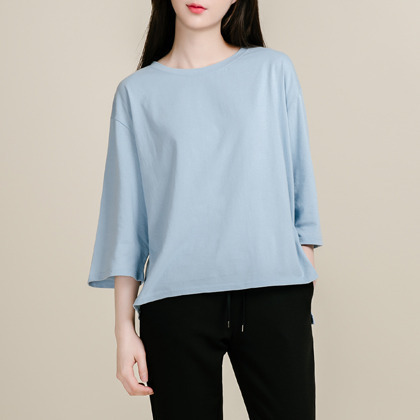 High-Low Hem 3/4 Sleeve T-Shirt