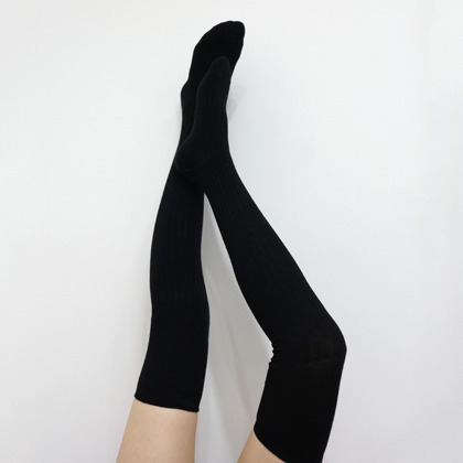 Black Ribbed Thigh High Socks