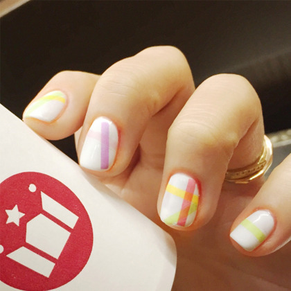 Colored Line Theme Nail Art Water Decal