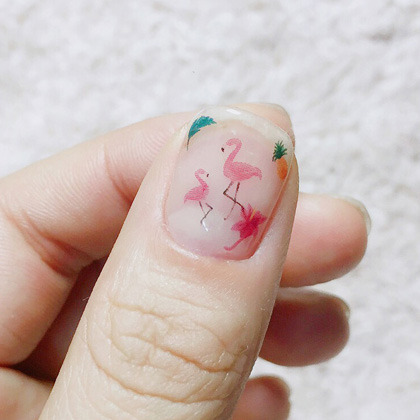Flamingo Themed Nail Art Water Decal