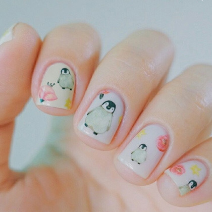 Penguin And Flower Themed Nail Art Water Decal