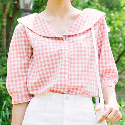 Gingham Check Collared Blouse