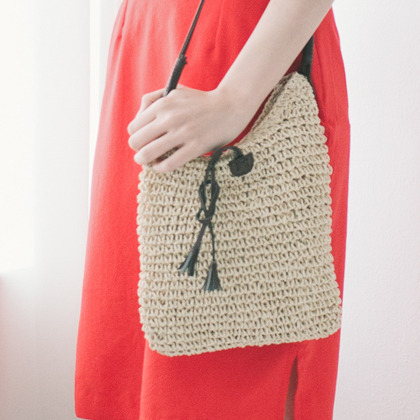 Button Loop Crossbody Straw Bag