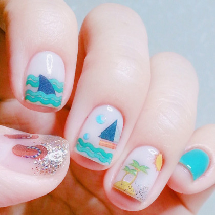 Summer Beach Theme Nail Art Water Decal