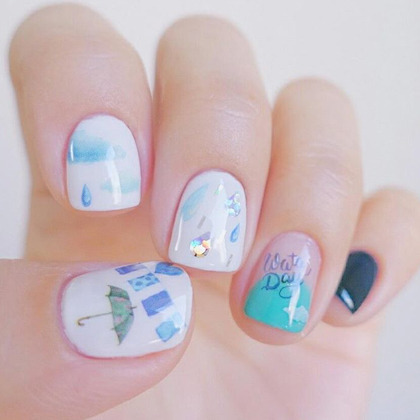 Rainy Day Theme Nail Art Water Decal
