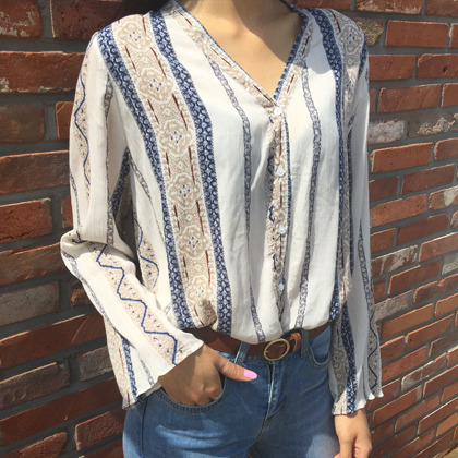 Ethnic Patterned Button-Front Blouse