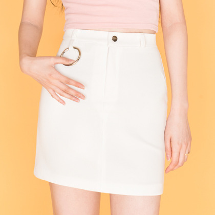 Hooped Loop Ribbed Mini Skirt