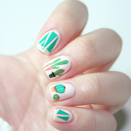 Cactus Themed Nail Art Water Decal