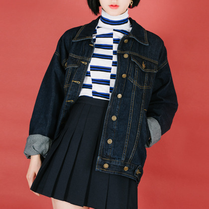 Extended Sleeve Button-Front Denim Jacket