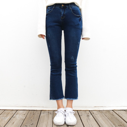 Lightly Distressed Frayed Hem Bootcut Jeans