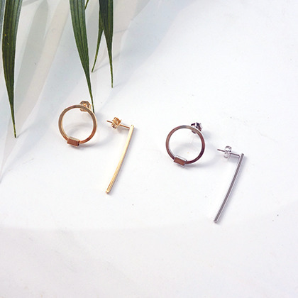Mismatched Circle And Bar Earrings