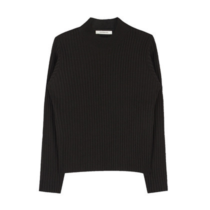 365 BASICHigh Neck Ribbed Knit Long Sleeve Top