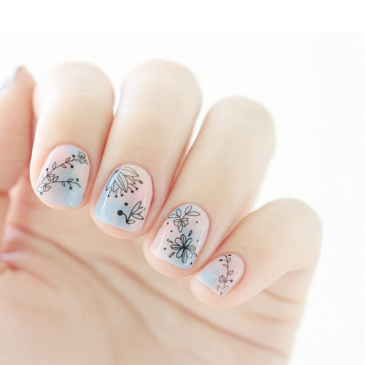 Simple Flower Themed Nail Art Water Decal