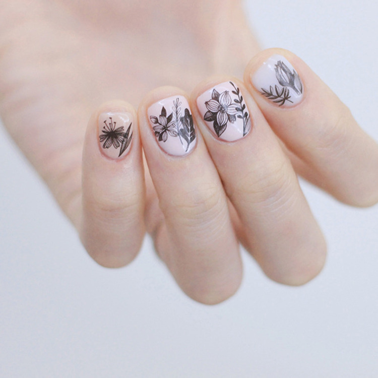 Flower Drawing Nail Art Water Decal