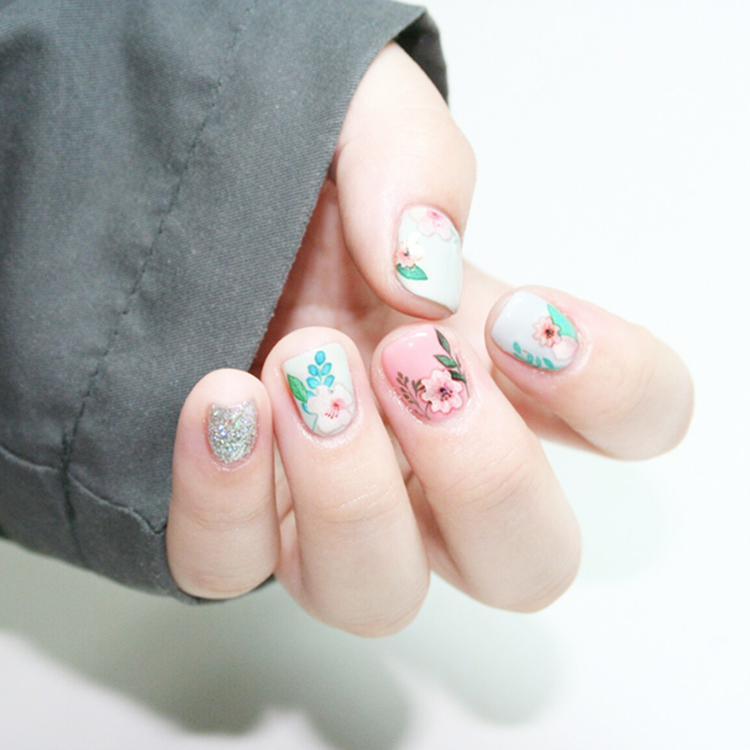 Colorful Flower Nail Art Water Decal