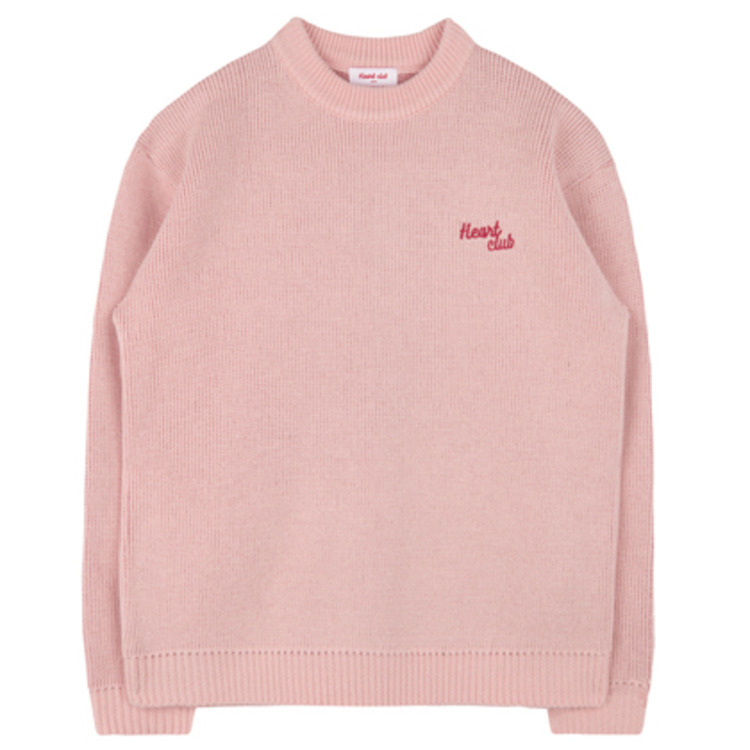 HEART CLUBEmbroidered Logo With Elbow Heart Accent Knit Sweater