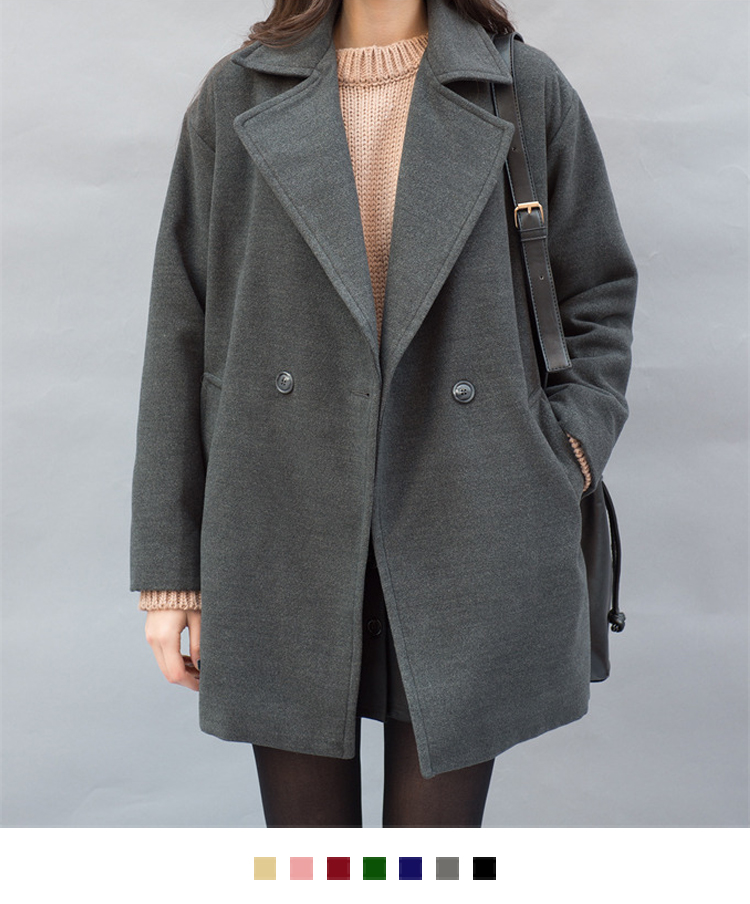 Woolen Double-Breasted Coat