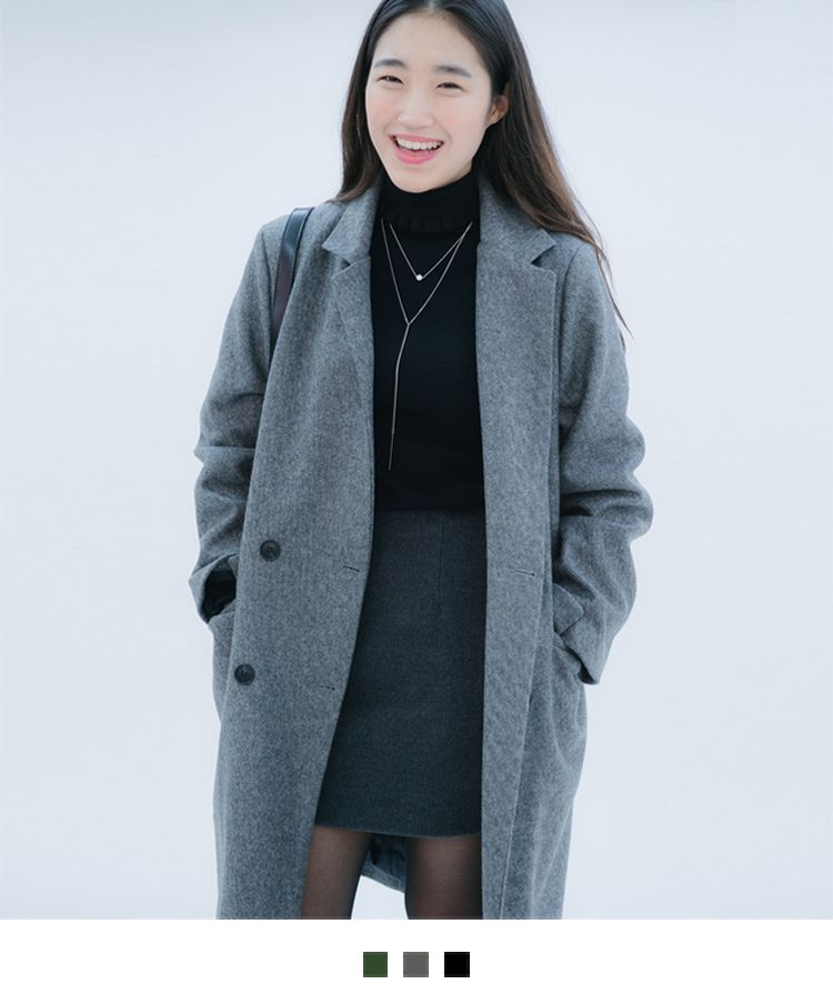 Double-Breasted Flap Pocket Coat