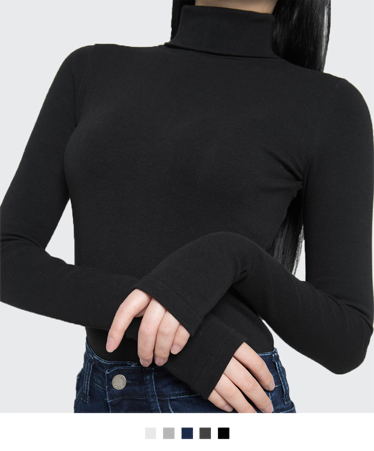 365 BASICPlain Slim Turtleneck Top