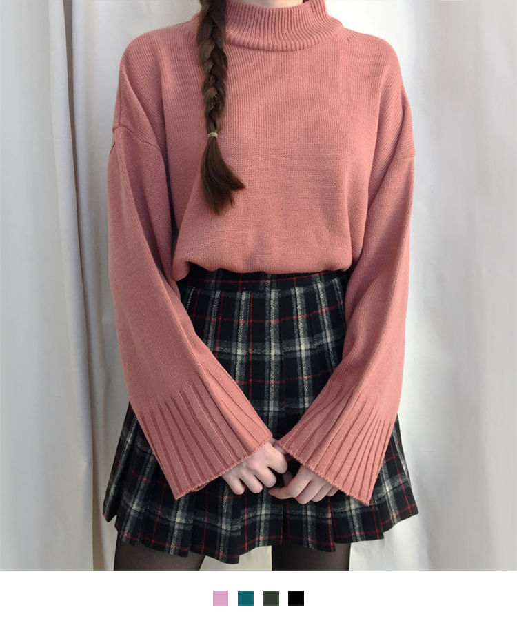 Loose Mock Neck Knit Sweater