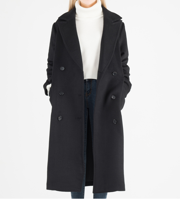Black Double-Breasted Mid-Calf Wool Coat