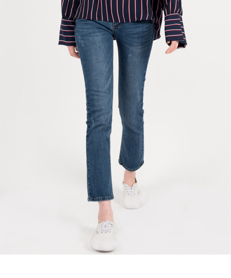 Blue Straight Leg Ankle Cut Jeans
