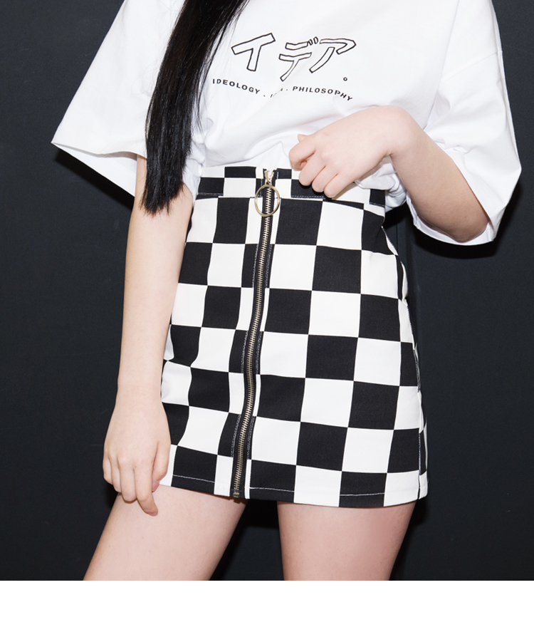 Check Zip-Front Mini Skirt