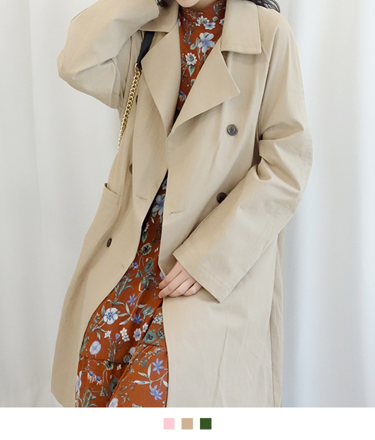 Loose Double-Breasted Midi Trench Coat