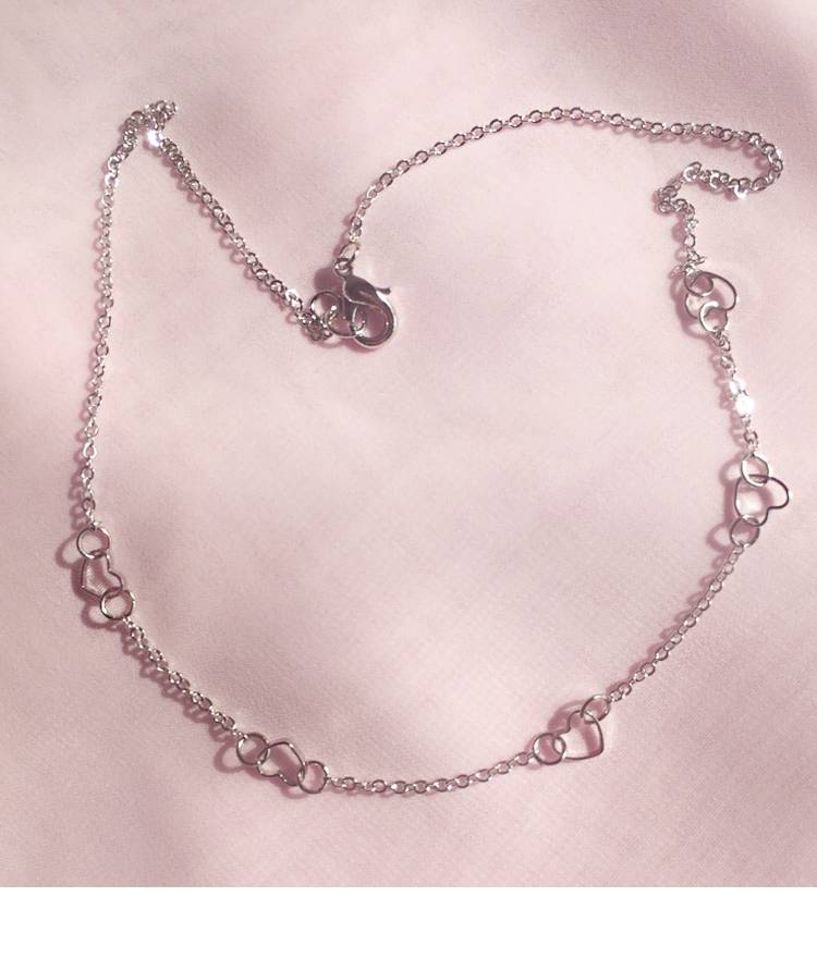 Silver Tone Hollow Heart Chain Necklace