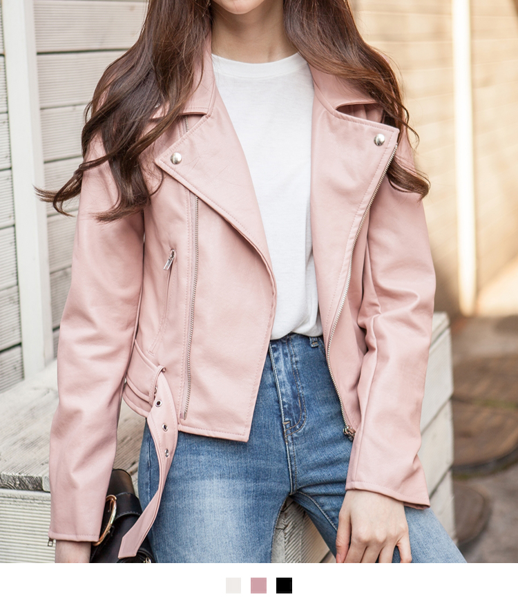 Faux Leather Belted Rider Jacket