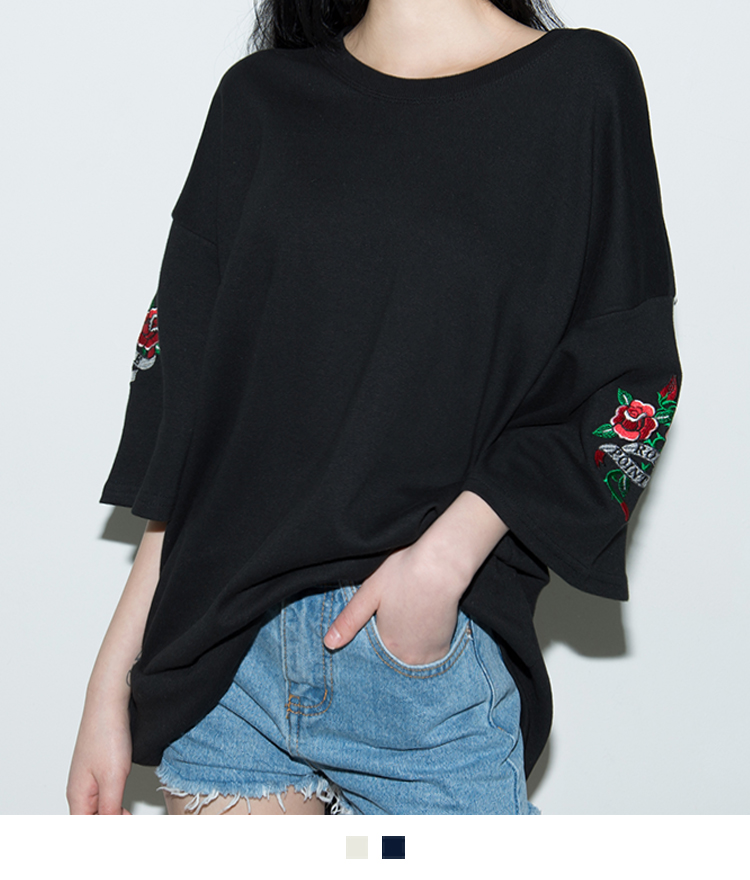 Embroidered Rose Oversized T-Shirt