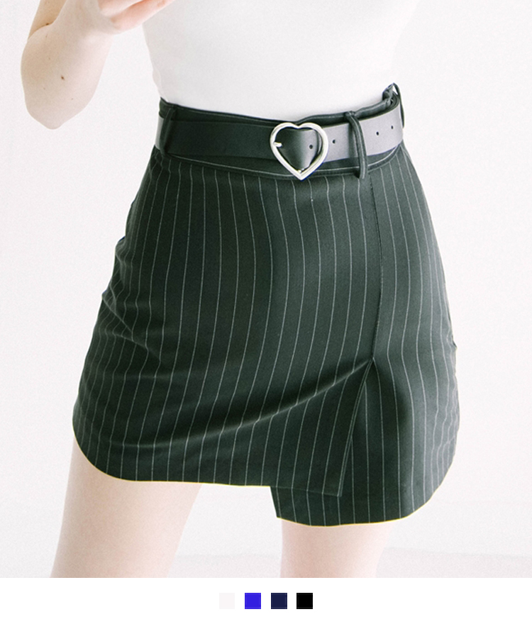HEART CLUBPinstriped Slim-Fit Asymmetric Skort