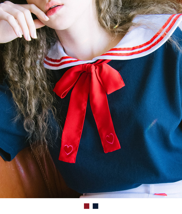 HEART CLUBHeart-Patched Ribbon Tie