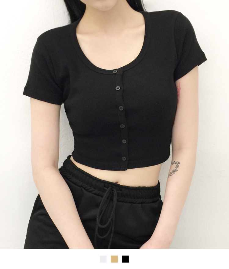 Button-Front Crop Top