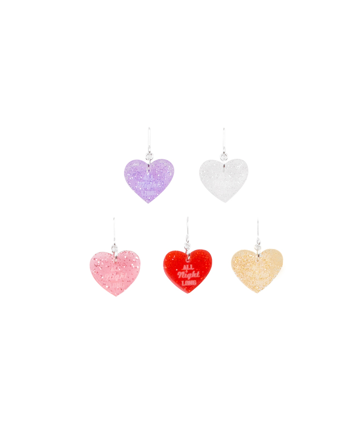 Glittered Heart Lettering Earrings