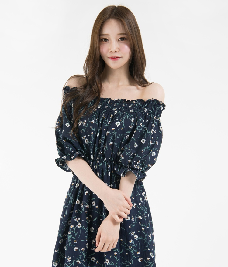 Floral Half Sleeve Off-Shoulder Dress