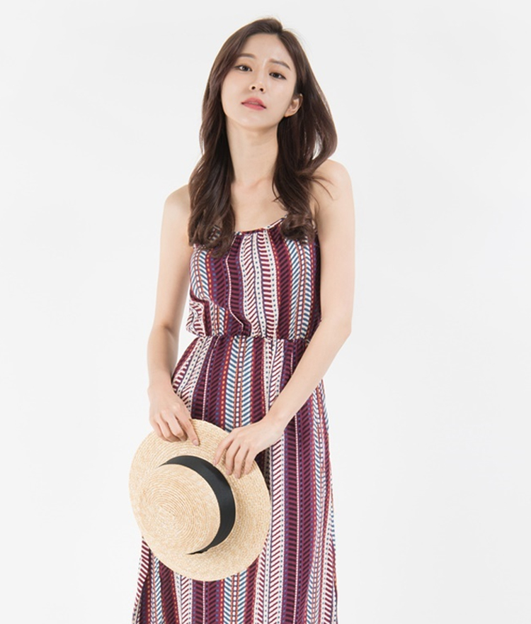 Ethnic Print Sleeveless Midaxi Dress