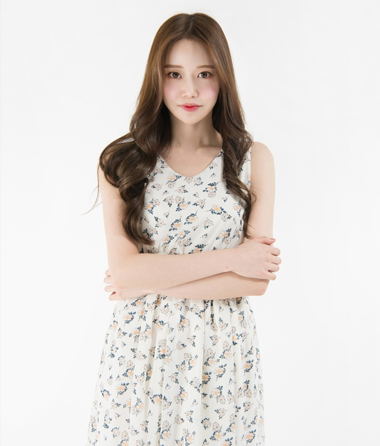 Self-Tie Strap Floral Sleeveless Dress