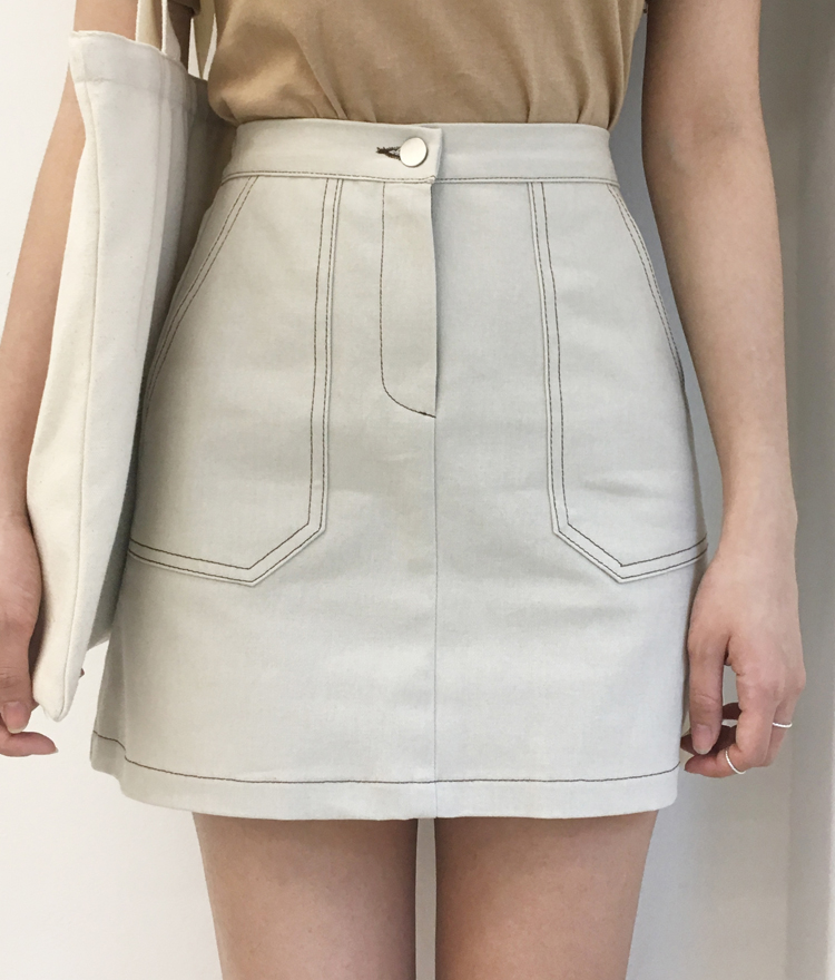 Contrast Stitch Semi-Banded Waist Mini Skirt
