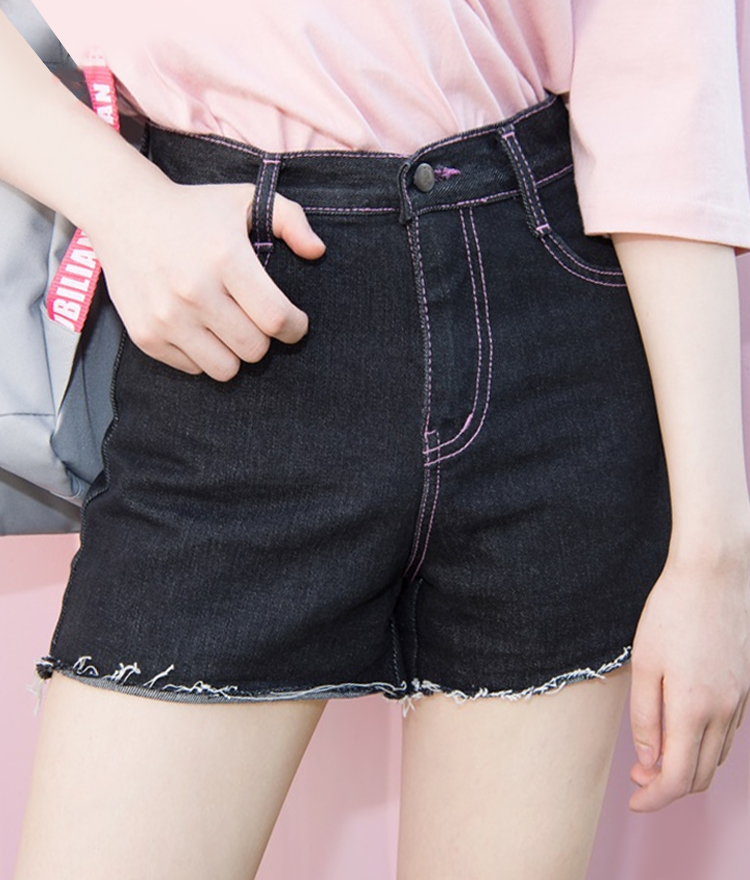 Contrast Pink Stitch Cutoff Denim Shorts