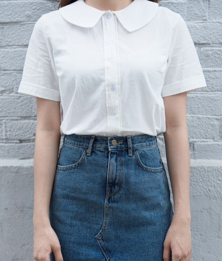 Collared Button-Front Shirt
