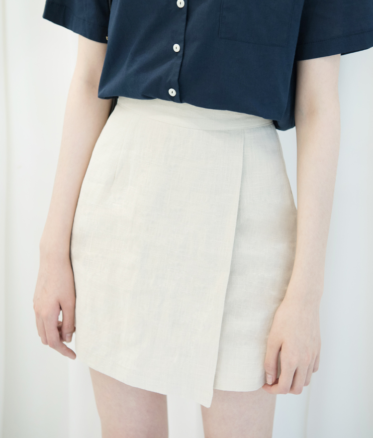 Faux Wrap Linen Mini Skirt