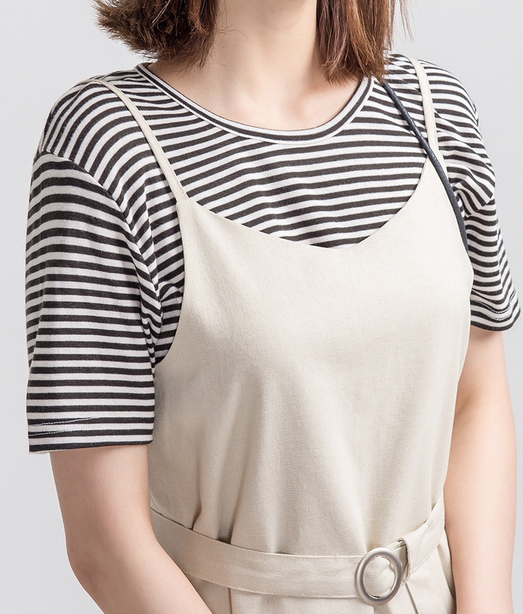 365BASICStriped Jewel Neck T-Shirt