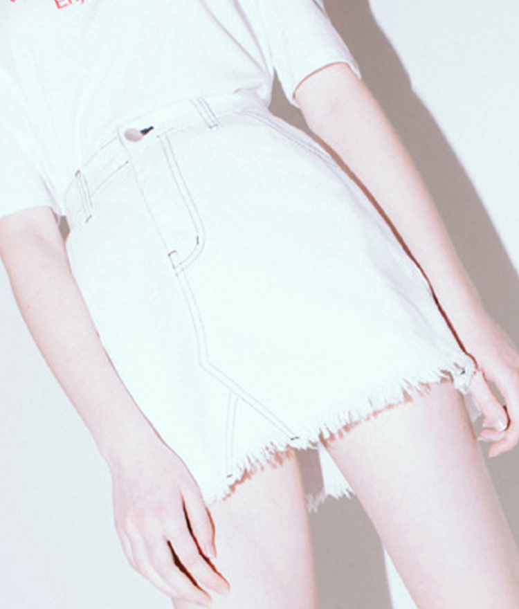 HIDE AND SEEKContrast Stitch Frayed Hem Skirt
